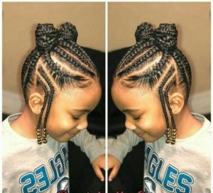 Reverse sides braid bun for girls