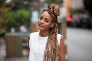 Swoop bun crochet box braids