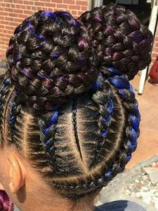 cornrow pigtails with colorful strings