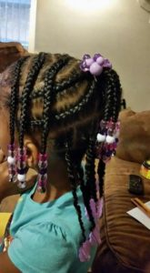 little girls braid and beads