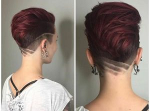 short red hair with design