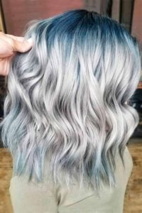 Ash Blonde Hair with Teal Roots and Tips