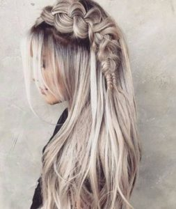 Long Boho Ash Blonde Locks with Braid