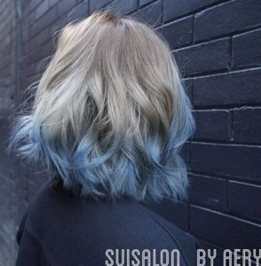 Ash Blonde to Pastel Blue Ombre