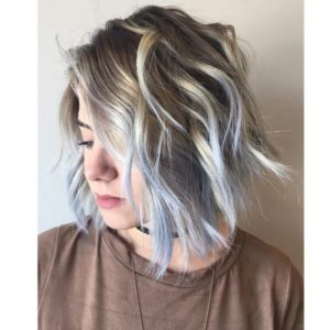 Ash Blonde Bob with Powder Blue Highlights