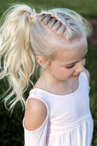 Dutch Braid and High Ponytail