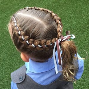 Ribbon Halo Braid and Ponytail