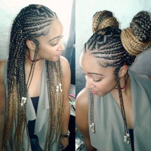 Honey blonde fulani braided buns