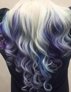 Icy Blonde Hair with Pastel Peacock Balayage