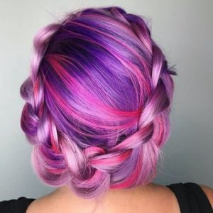 Pink and Purple Braided Crown
