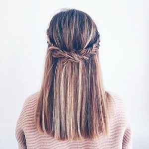 Half Fishtail Braid and Straight Locks