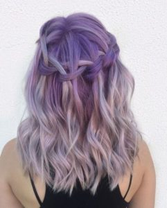 Stunning Purple Hair with Waterfall Braid