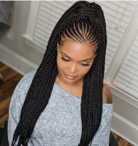 african braided ponytail