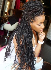 big half bun Faux Locs