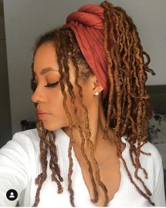 faux locs pony in Scarf.