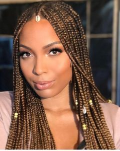 honey brown braids with jewelry
