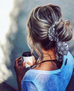 low messy bun with scarf