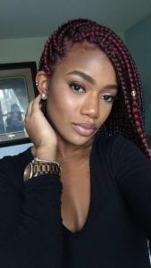 side swept red Poetic Justice Braids