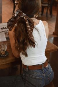 simple ponytail and scarf