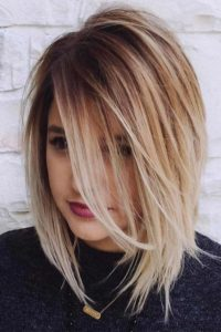 Layered Cut with Long Side Swept Bangs