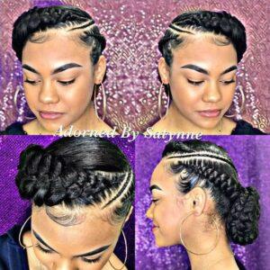 Elegant braided cornrows updo