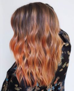 Bright Peach Cobbler Balayage