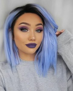 Periwinkle Bob with Dark Roots