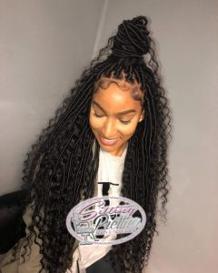 Long Goddess Loc Half Up
