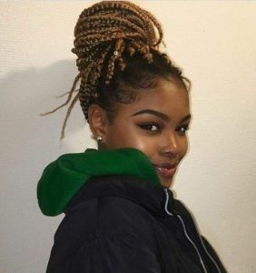 box braids bun updo