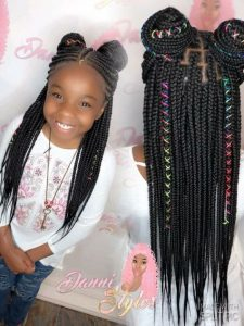 cornrow braided pigtails