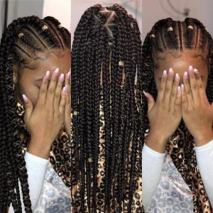 cornrows with box braids