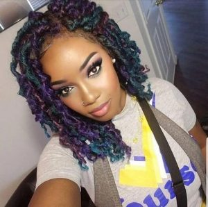 curly colored locs bob