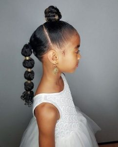 elegant updo ponytail with beads