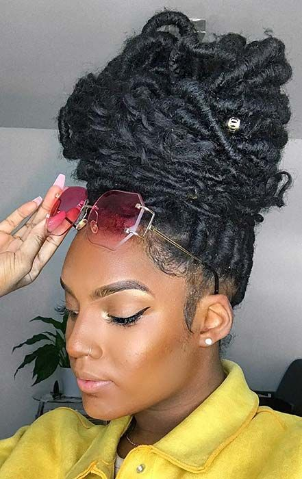 Chunky updo faux locs