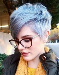Silver Pixie Cut with Side Swept Bangs
