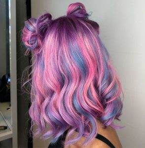 Blue Grey Hair with Pink Highlights