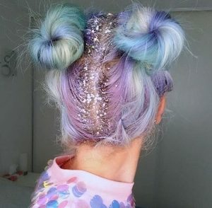 Pastel Purple and Blue Hair with Glitter Parting