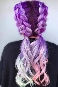 Lavender Balayage with Pastel Tips