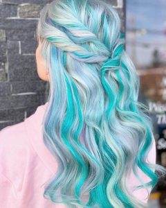 Unicorn Hair Silvery Blue and Teal
