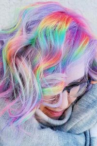 Silver Hair with Neon Rainbow Slices
