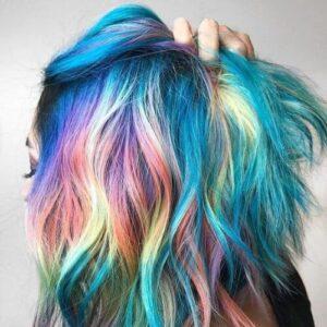 Teal Hair with Rainbow Peek-A-Boo Highlights