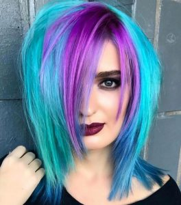 Turquoise Hair with Lavender Bangs