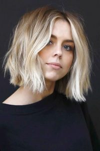 Blunt Blonde Bob with Messy Waves