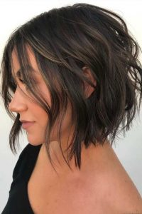 Chocolate Brown Bob with Relaxed Waves