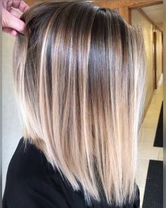 Glossy Graduated Lob with Multiple Blonde Tones