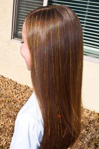 Auburn Hair with Minimal Gold Extensions
