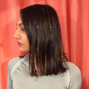 Brunette Lob with Multi-Tonal Hair Tinsel