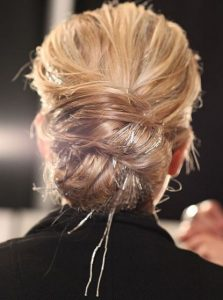 Chic Messy Chignon with Chunky Tinsel Extensions