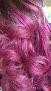 Deep Pink Hair with Hair Tinsel
