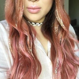 Dusky Rose Hair with Gold Tinsel Extensions